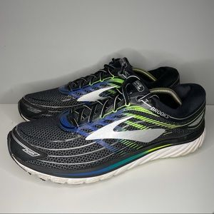 Brooks Mens Glycerin 1102581D012 Black Blue Running Shoes Lace Up Size 13